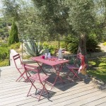 Table de jardin rectangulaire pliante Métal Greensboro (110 x 70 cm) -Rose marsala