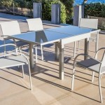 Table de jardin extensible 8 places en verre Murano (180 x 90 cm) - Silver