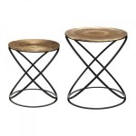 Lot de 2 tables d'appoint Etnik Cuivre
