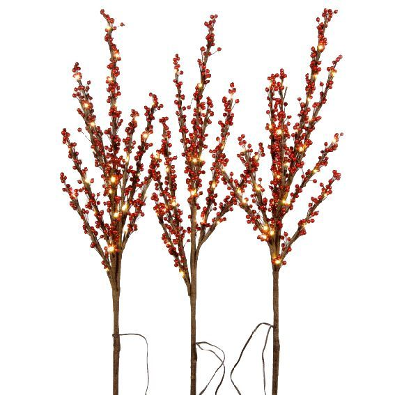 lot de 3 branches lumineuses georgia 96 led rouge fleur et branche d 39 hiver eminza. Black Bedroom Furniture Sets. Home Design Ideas