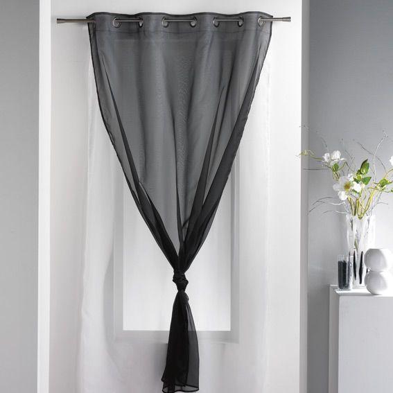 exceptional double rideau noir et blanc #5: voilage à oeillets