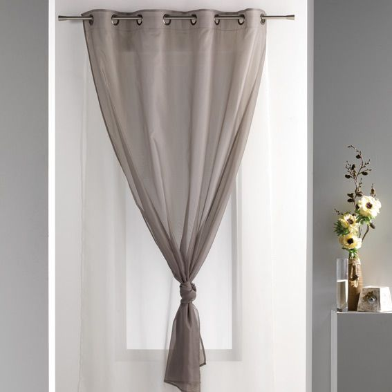 Voilage 140 x h240 cm uni double taupe voilage eminza for Double voilage