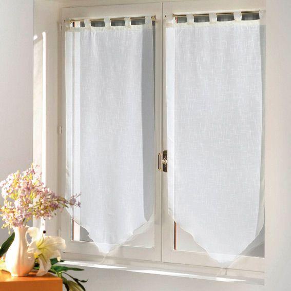 paire de voilage 45 x h120 cm luminea blanc rideau et voilage eminza. Black Bedroom Furniture Sets. Home Design Ideas