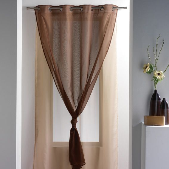 voilage 140 x h240 cm uni double cacao voilage eminza. Black Bedroom Furniture Sets. Home Design Ideas