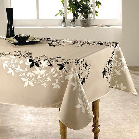 nappe rectangulaire l240 cm talia beige nappe de table eminza. Black Bedroom Furniture Sets. Home Design Ideas
