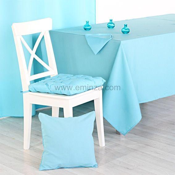 Nappe rectangulaire essentiel l200 cm turquoise nappe - Nappe de table rectangulaire ...