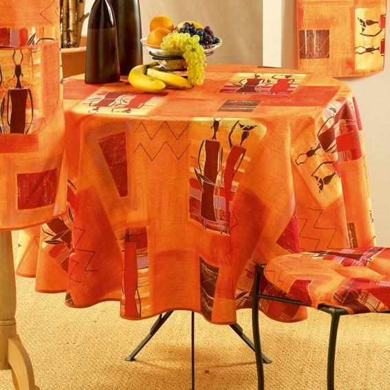 Nappe ronde d180 cm afrika epices nappe de table eminza for Nappe de table ronde