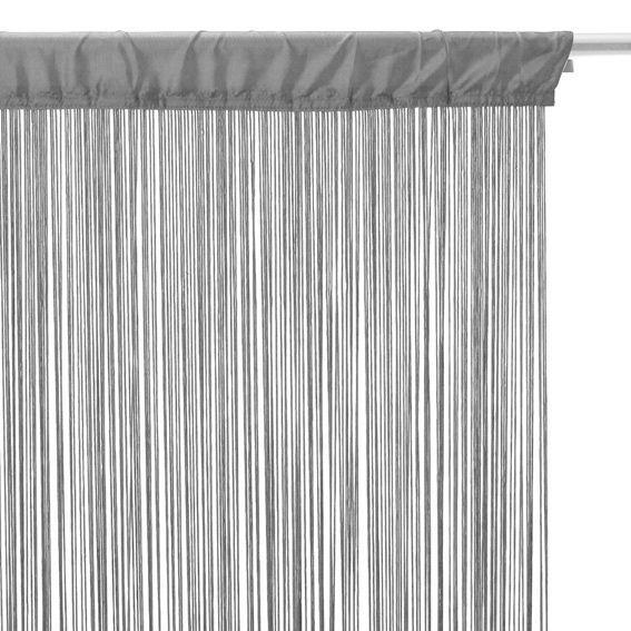 rideau de fil 90 x h200 cm uni gris rideau de porte eminza. Black Bedroom Furniture Sets. Home Design Ideas