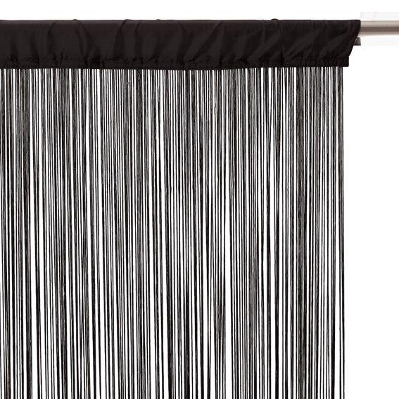 rideau de fil 120 x h240 cm uni noir rideau de porte. Black Bedroom Furniture Sets. Home Design Ideas