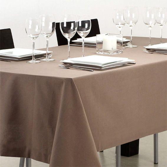 Nappe rectangulaire l240 cm uni taupe nappe de table for Nappe de table rectangulaire