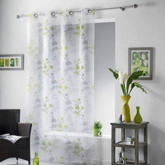voilage 140 x h240 cm elora anis voilage eminza. Black Bedroom Furniture Sets. Home Design Ideas