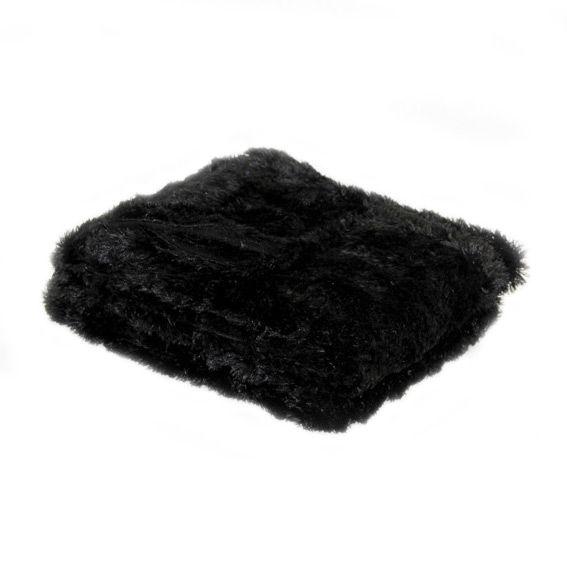 plaid imitation fourrure peluche noir plaid fausse fourrure eminza. Black Bedroom Furniture Sets. Home Design Ideas