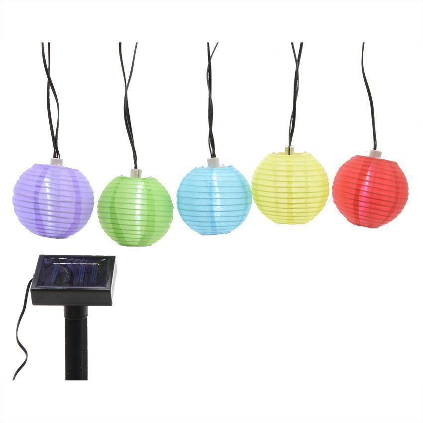 guirlande solaire led lanternes multicolores blanc. Black Bedroom Furniture Sets. Home Design Ideas