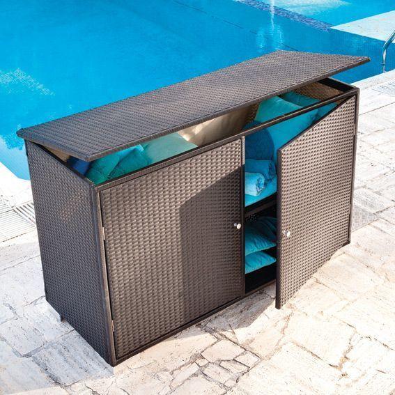 Coffre de rangement punta cana noir petit mobilier de jardin eminza - Coffre exterieur resine ...