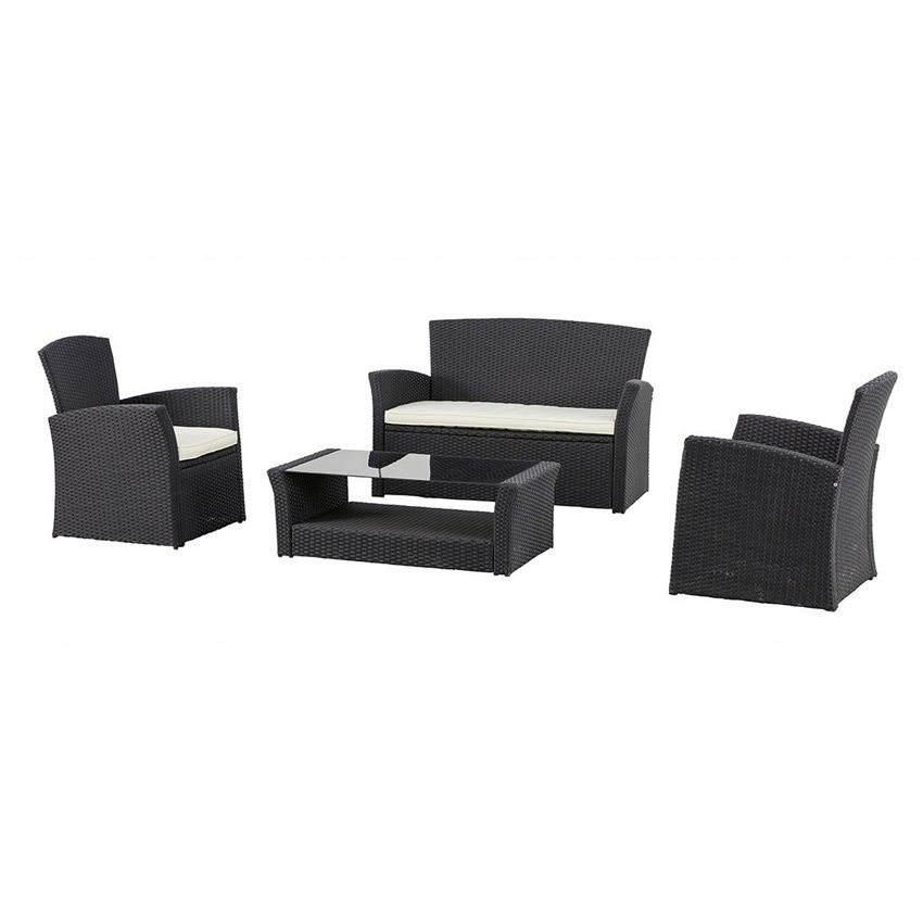 salon de jardin bora bora noir 4 places salon de. Black Bedroom Furniture Sets. Home Design Ideas