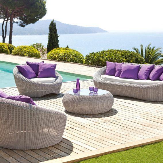 Salon de jardin java gris clair violet 5 places salon Salon de jardin gonflable