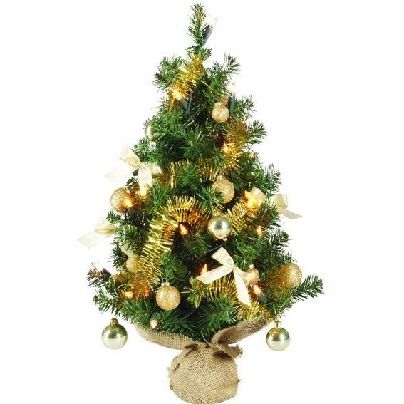 Sapin artificiel de table pr illumin maxum h60 cm or sapin de table eminza - Mini sapin de noel artificiel ...
