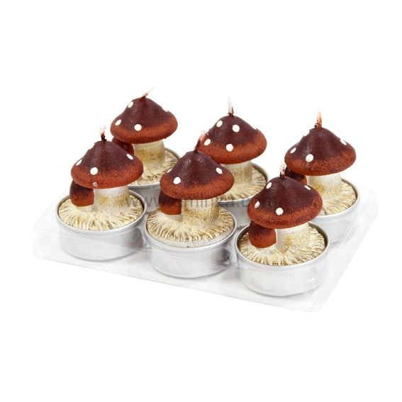 lot de 6 bougies champignon feri chocolat decoration de. Black Bedroom Furniture Sets. Home Design Ideas