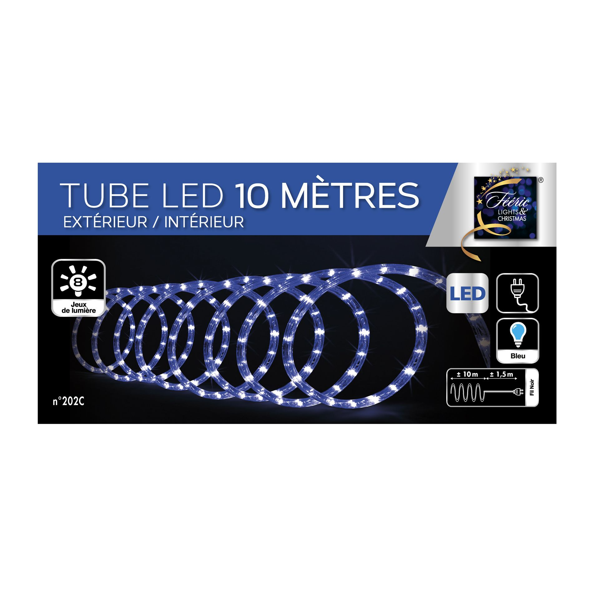 tube lumineux 10 m bleu 180 led guirlande lumineuse eminza. Black Bedroom Furniture Sets. Home Design Ideas