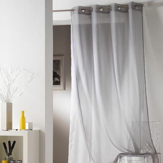 voilage 140 x h240 cm tulipe double gris voilage eminza. Black Bedroom Furniture Sets. Home Design Ideas