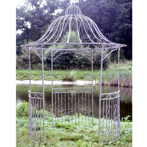 Tonnelle d corative line style fer forg taupe tonnelle - Tonnelle jardin fer forge ...