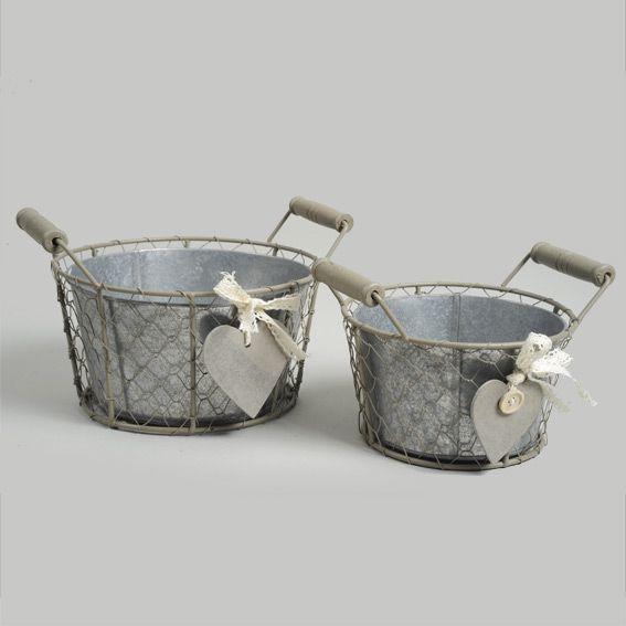 lot de 2 cache pots cœur en zinc gris meuble d appoint eminza