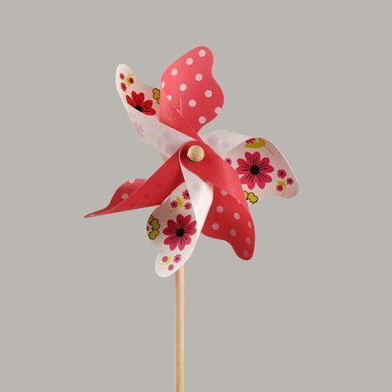 Moulin vent fleurs et pois rose decoration lumineuse eminza - Moulin a vent deco ...