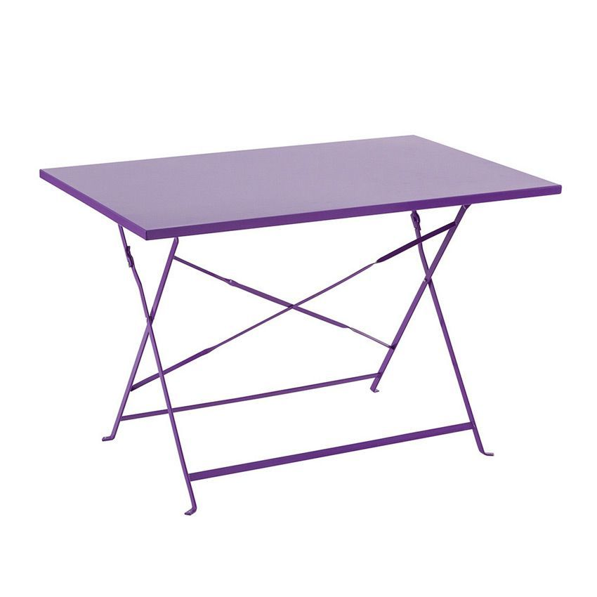 table de jardin pliante m tal camargue 110 x 70 cm violet table de jardin eminza. Black Bedroom Furniture Sets. Home Design Ideas