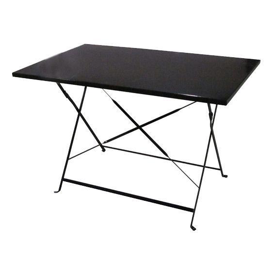 Table de jardin pliante m tal camargue 110 x 70 cm noir table de jardin eminza - Table jardin metal pliante ...
