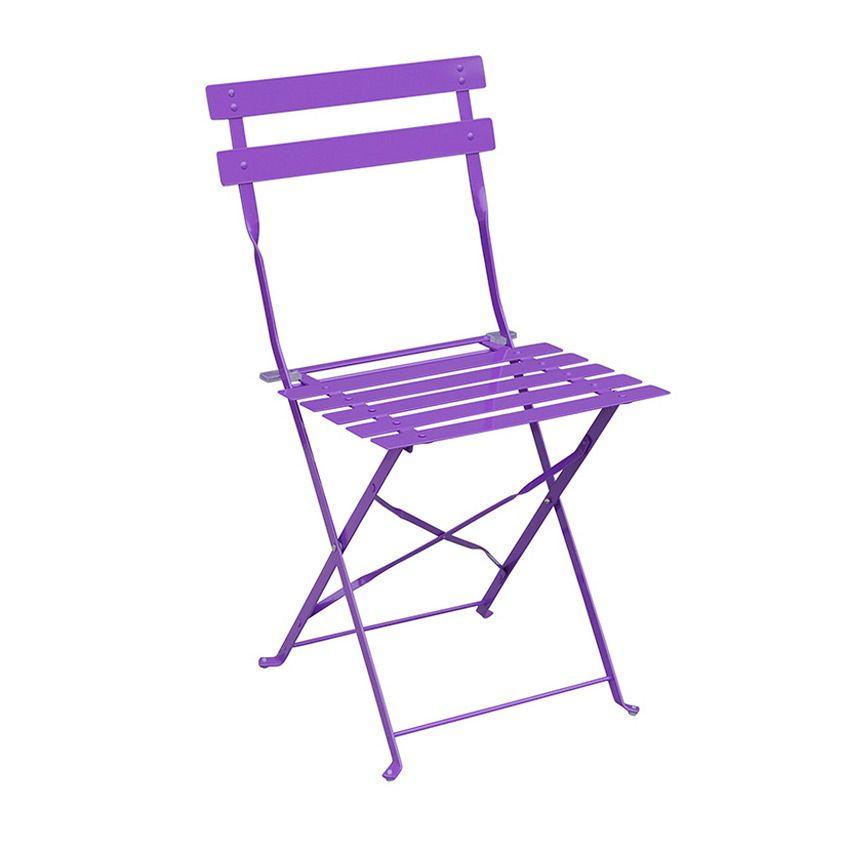 Lot de 2 chaises de jardin pliantes camargue violet for Chaises pliantes de jardin