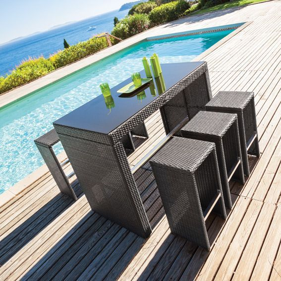 salon de jardin haut tinos noir 7 pi ces salon de. Black Bedroom Furniture Sets. Home Design Ideas