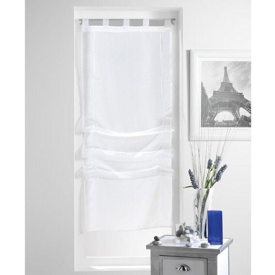 store voilage droit 45 cm lissea blanc voilage eminza. Black Bedroom Furniture Sets. Home Design Ideas