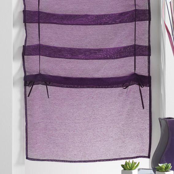 store voilage droit 45 cm lissea prune store voilage eminza. Black Bedroom Furniture Sets. Home Design Ideas