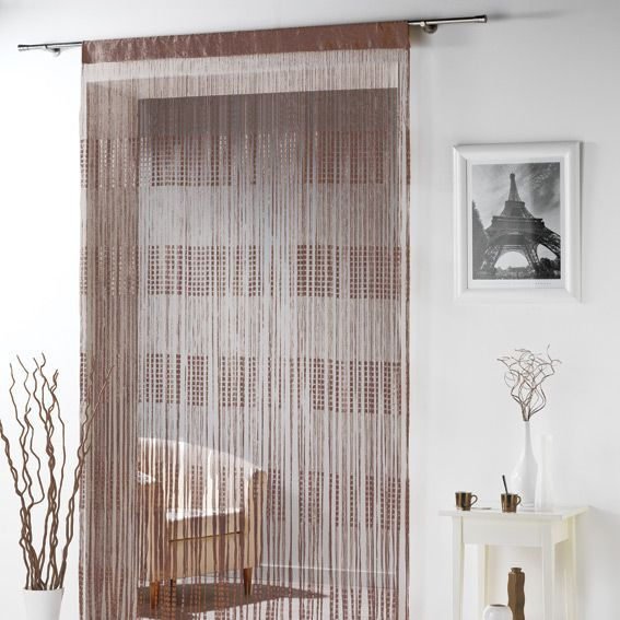 rideau fils largeur 90 cm spaghetti chocolat rideau de porte eminza. Black Bedroom Furniture Sets. Home Design Ideas