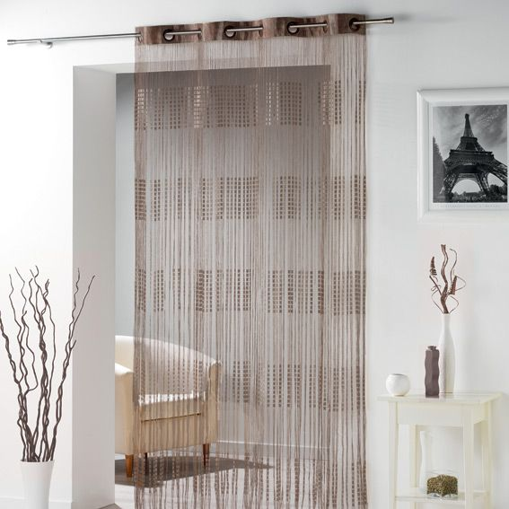 rideau fils oeillets largeur 140 cm spaghetti chocolat rideau de porte eminza. Black Bedroom Furniture Sets. Home Design Ideas