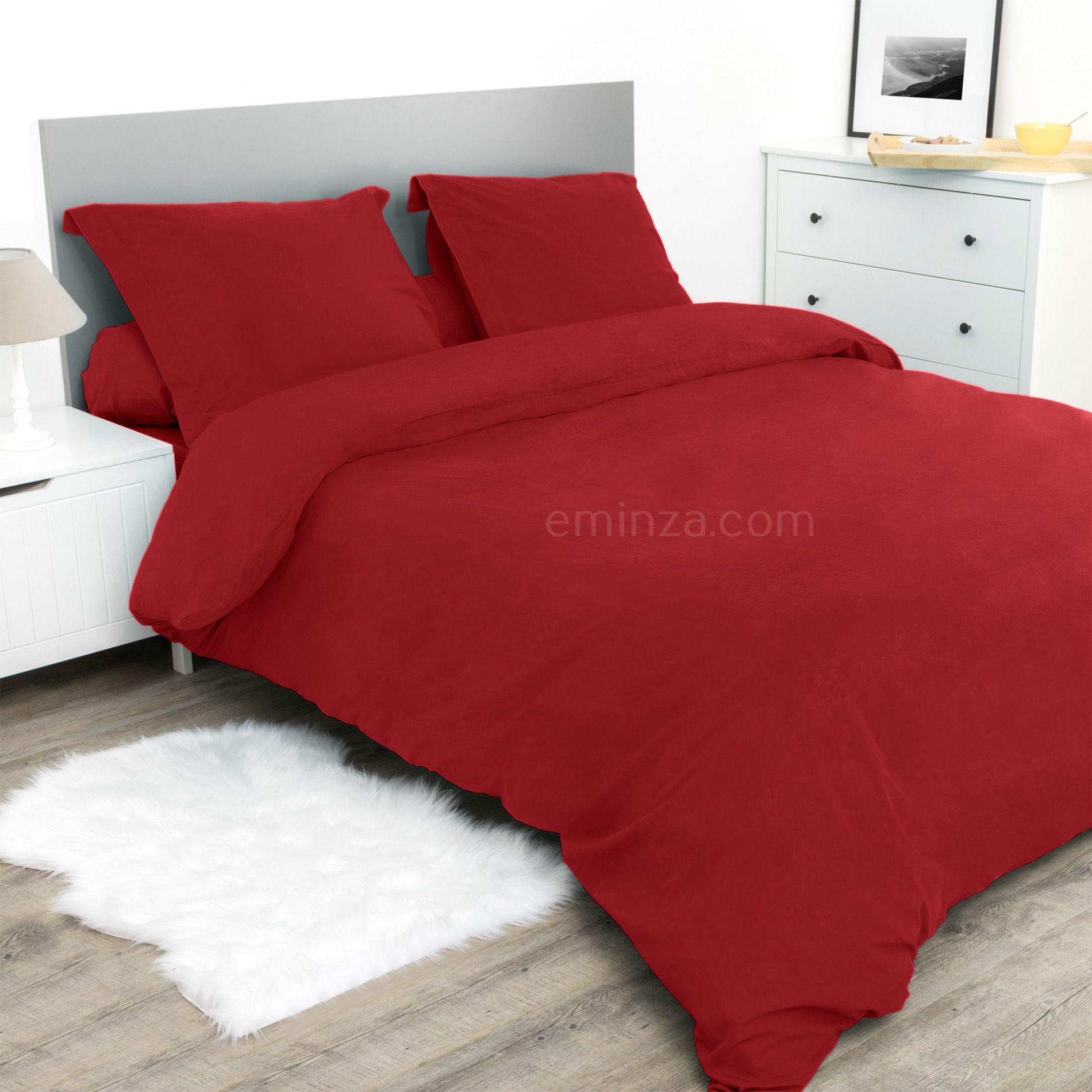 housse de couette 240 cm confort rouge housse de couette eminza. Black Bedroom Furniture Sets. Home Design Ideas