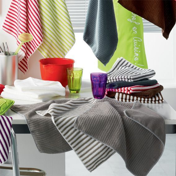 Lot de 3 torchons cuistot gris accessoires cuisine eminza for Site accessoire cuisine