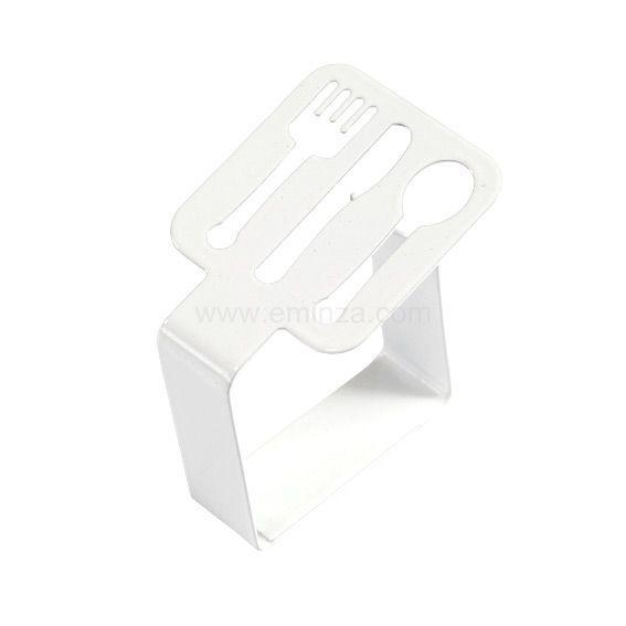 lot de 4 pinces pour nappe couverts blanc accessoires nappes eminza. Black Bedroom Furniture Sets. Home Design Ideas