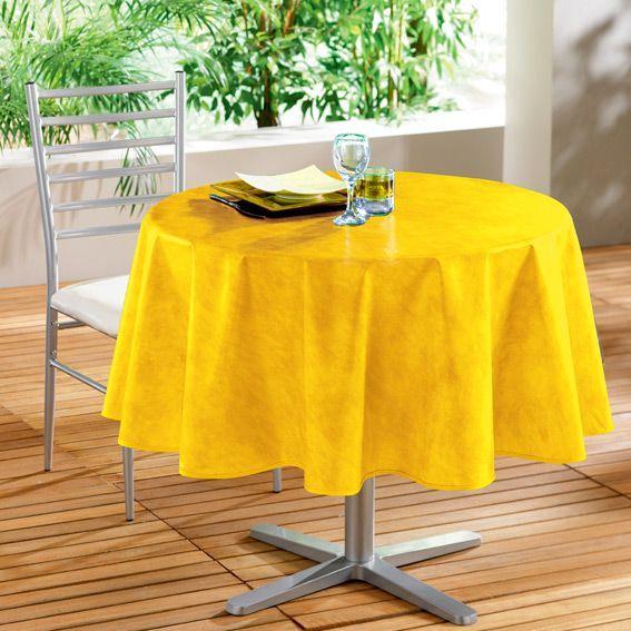 nappe cir e ronde d160 cm b ton cir jaune linge de table eminza. Black Bedroom Furniture Sets. Home Design Ideas
