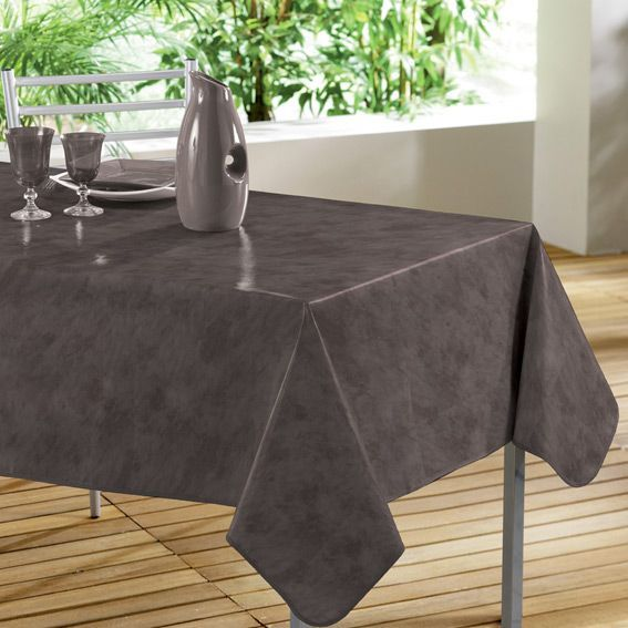 Nappe rectangulaire b ton cir taupe toile cir e linge de table eminza - Nappe toile ciree rectangulaire ...