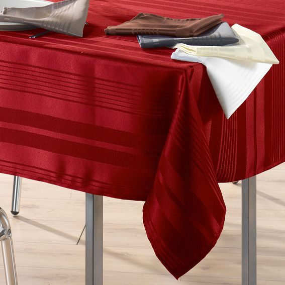 nappe rectangulaire l250 cm smart jacquard rouge nappe de table eminza. Black Bedroom Furniture Sets. Home Design Ideas
