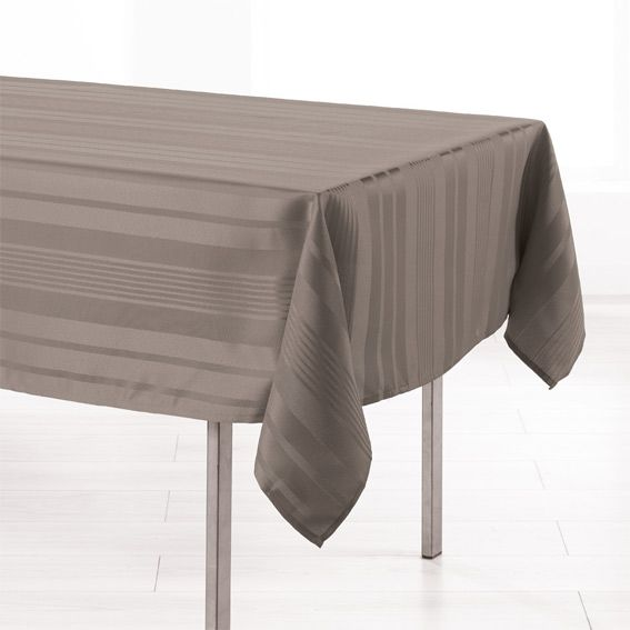 nappe rectangulaire l300 cm smart jacquard taupe nappe de table eminza. Black Bedroom Furniture Sets. Home Design Ideas