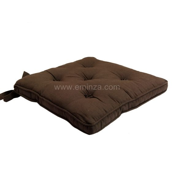 coussin de chaise 5 boutons chocolat galette et coussin de chaise eminza. Black Bedroom Furniture Sets. Home Design Ideas