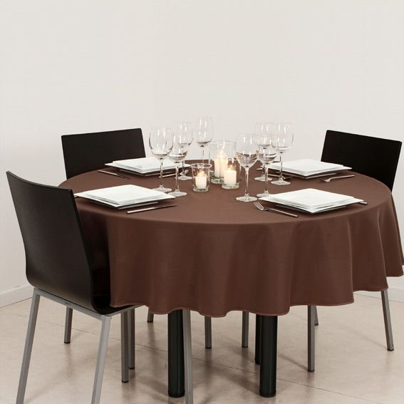 Nappe ronde d180 cm lina chocolat nappe de table eminza - Nappe pour table ronde ...