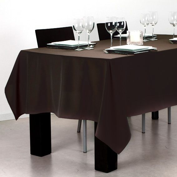 nappe rectangulaire l240 cm lina chocolat nappe de table eminza. Black Bedroom Furniture Sets. Home Design Ideas