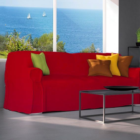 housse de canap 3 places contemporaine rouge housse de canap eminza. Black Bedroom Furniture Sets. Home Design Ideas