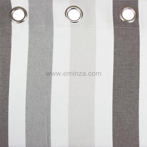 rideau 140 x h240 cm rayure taupe rideau tamisant eminza. Black Bedroom Furniture Sets. Home Design Ideas