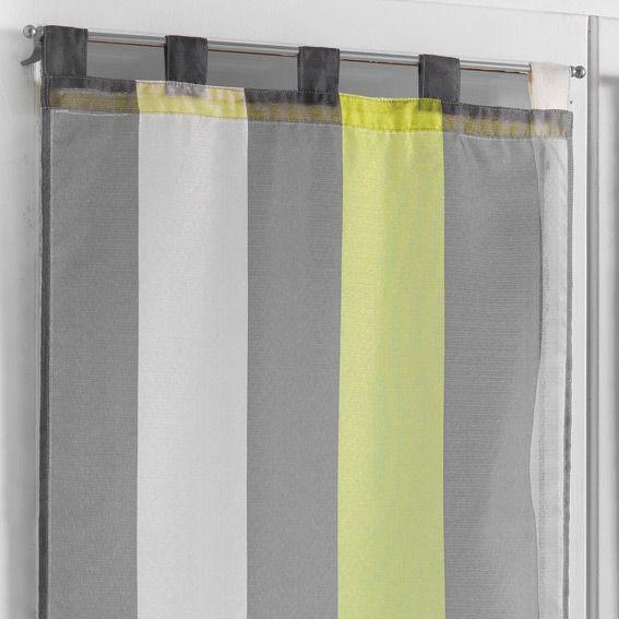 paire de voilage 60 x h90 cm riviera anis rideau et voilage eminza. Black Bedroom Furniture Sets. Home Design Ideas