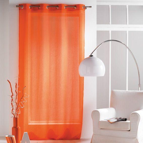 voilage 140 x h240 cm paloma orange voilage eminza. Black Bedroom Furniture Sets. Home Design Ideas