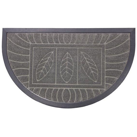 Tapis d 39 entr e demi lune feuilles gris tapis pour la - Tapis pour entree maison ...